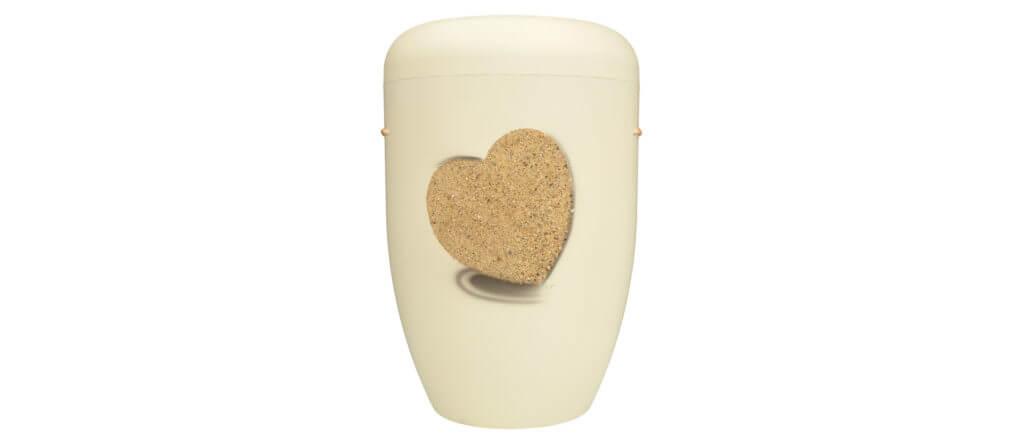Urne Stuck naturweiß mit Herzmotiv