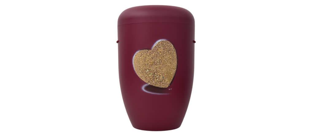 Urne Stuck dunkelrot mit Herzmotiv
