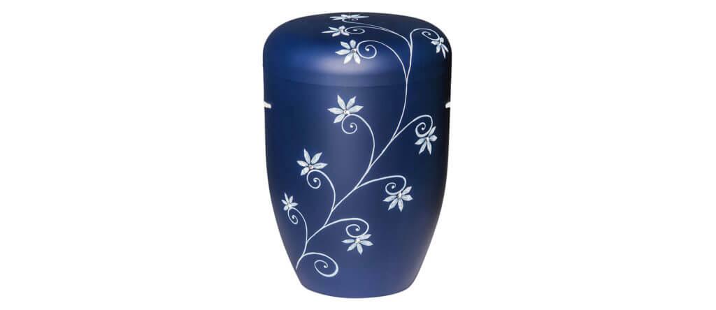 Urne Labradorit blau mit weißem Blumenmotiv