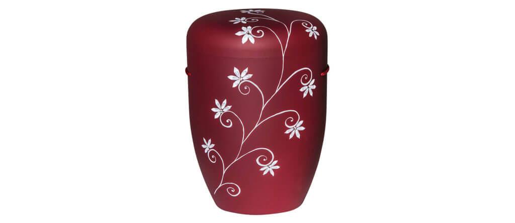 Urne Labradorit rot mit weißem Blumenmotiv
